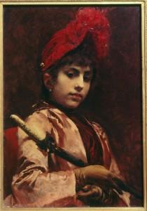 Vojtěch Hynais, Dívka se slunečníkem – Víla našeho věku, 1885, olej na plátně, sbírka GVUO. zdroj:http://www.oko-opava.cz