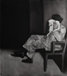 Mircea Suciu, Human Stain, 2011, uhel na papíře, 175 x 150 cm, soukromá sbírka, Berlín, zdroj: http://www.galerierudolfinum.cz